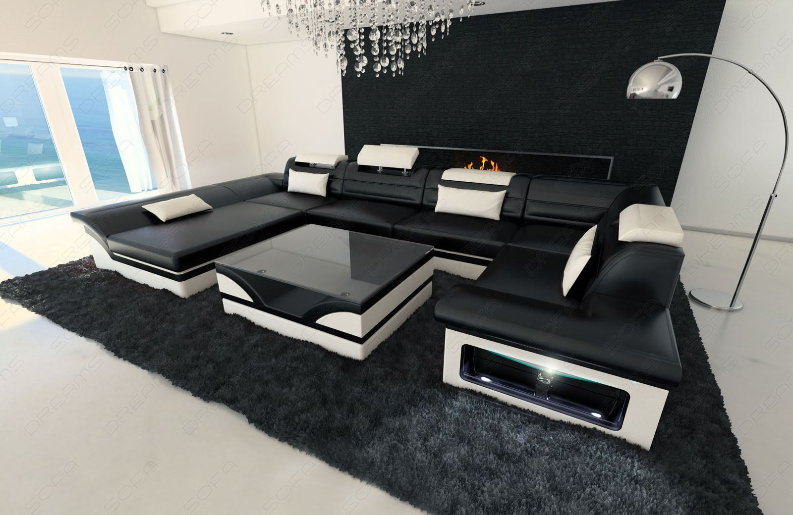 Big Leather Sofa ENZO with LED Lights black white