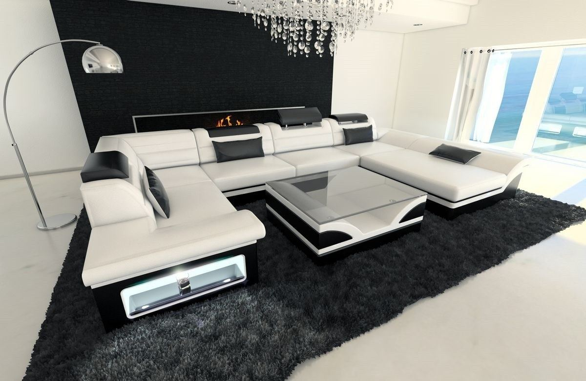 wohnlandschaft enzo u form mit led beleuchtung und schlaffunktion lagerware ebay. Black Bedroom Furniture Sets. Home Design Ideas