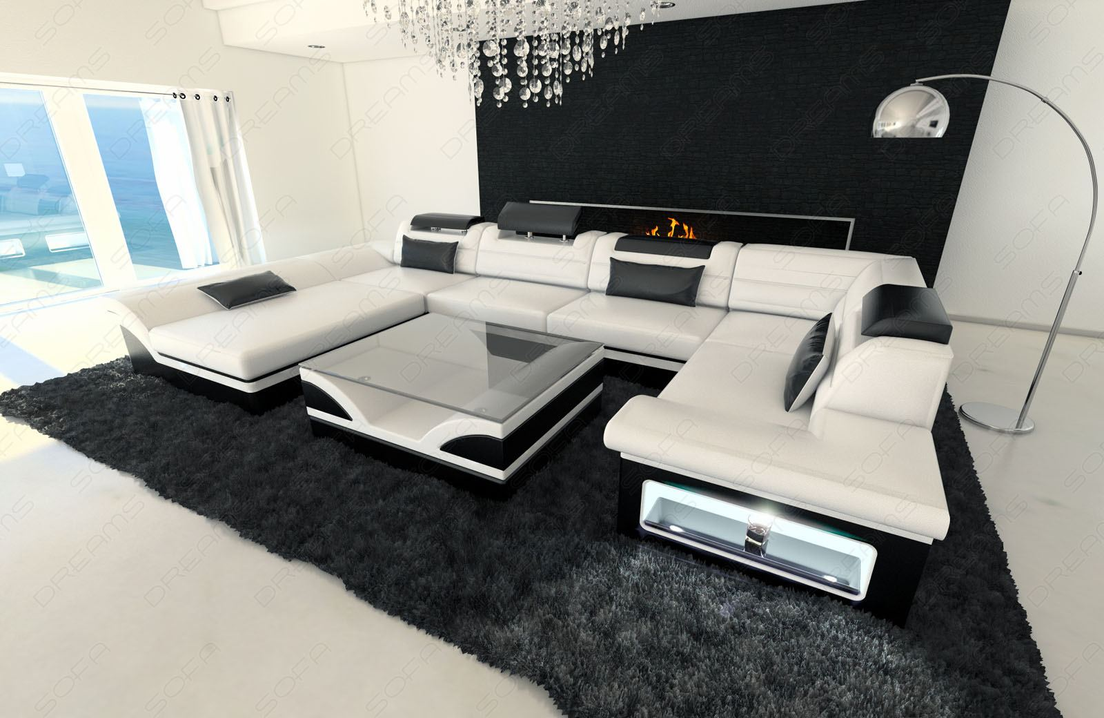 wohnlandschaft leder enzo u form design sofa luxuscouch mit led beleuchtung rgb ebay. Black Bedroom Furniture Sets. Home Design Ideas