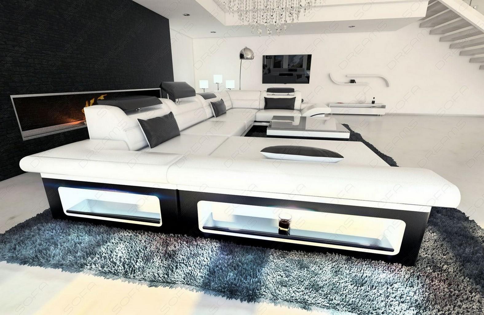 Ledersofa designer couch garnitur enzo weiss schwarz mit for Designer wohnlandschaft
