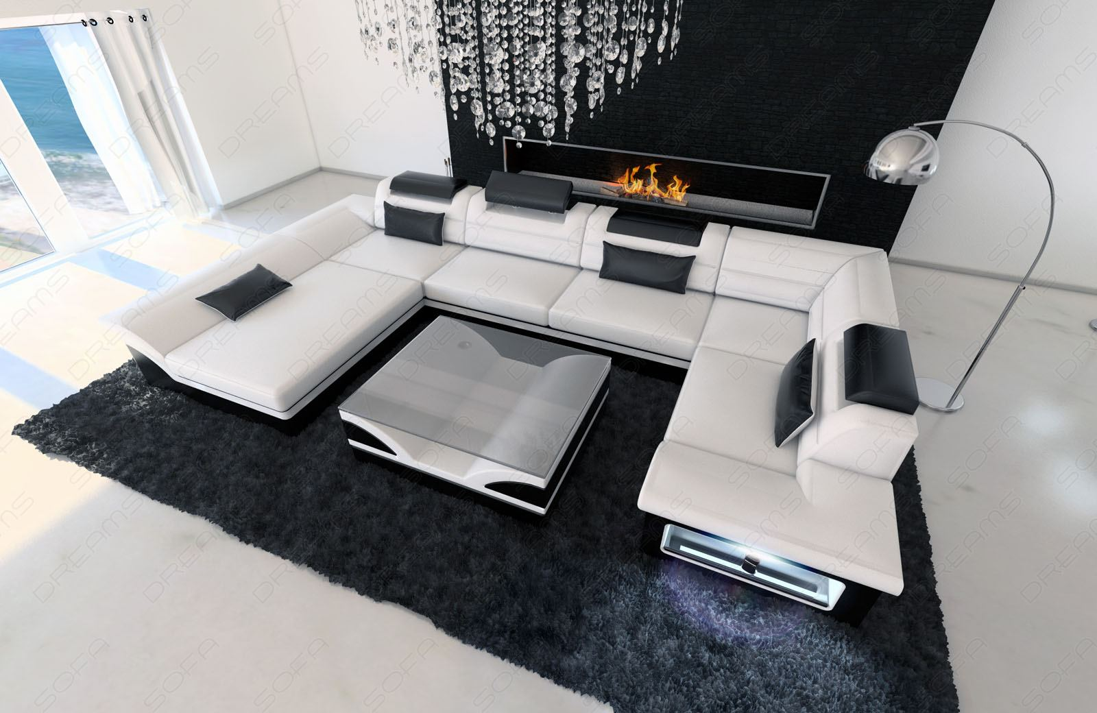 big leather sofa enzo with led lights white black ebay. Black Bedroom Furniture Sets. Home Design Ideas