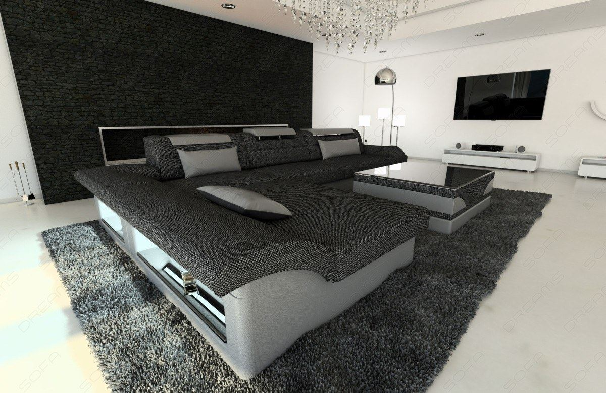 stoffcouch monza l form stoff luxus sofa design couch mit led ecksofa recamiere ebay. Black Bedroom Furniture Sets. Home Design Ideas