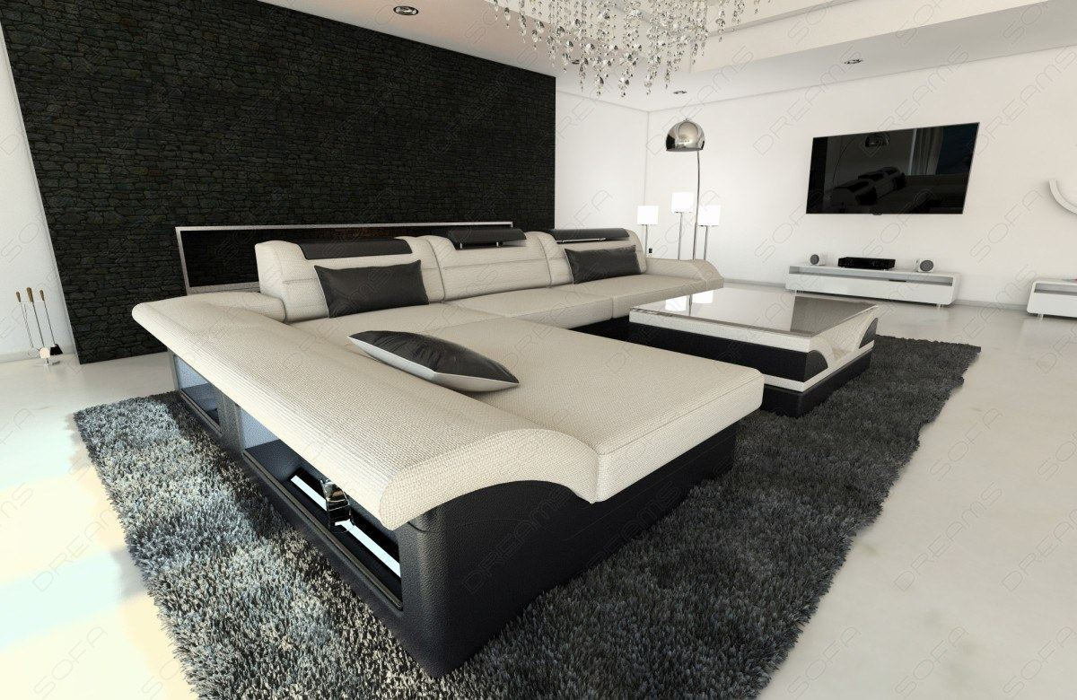 stoffsofa monza l form mit led beleuchtung polstersofa. Black Bedroom Furniture Sets. Home Design Ideas