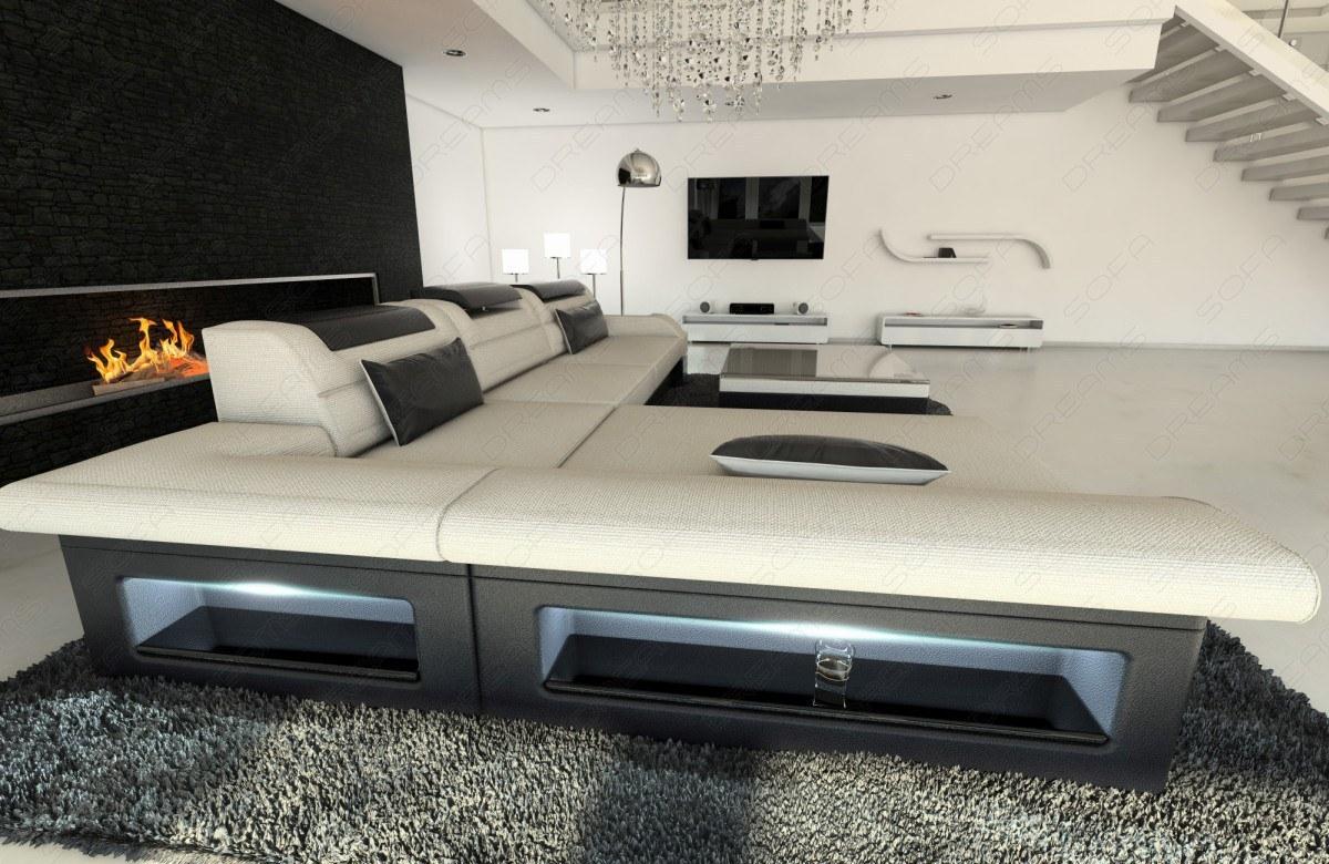 wohnlandschaft luxus stoff monza l form creme designer. Black Bedroom Furniture Sets. Home Design Ideas