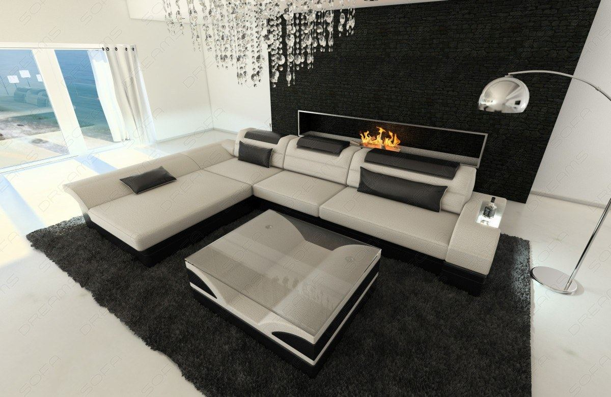 Details about Fabric Sofa Atlanta L Shape Designer Couch with LED Lights