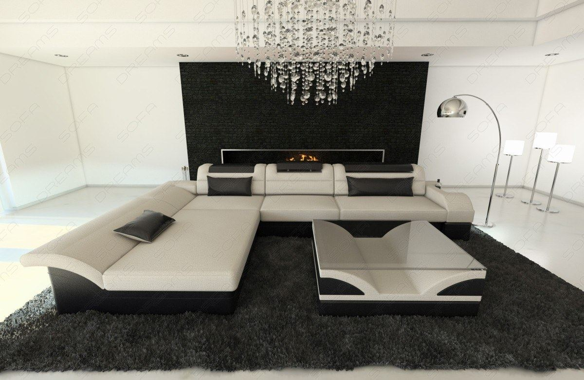 fabric sofa monza l shape leather mix with led corner. Black Bedroom Furniture Sets. Home Design Ideas