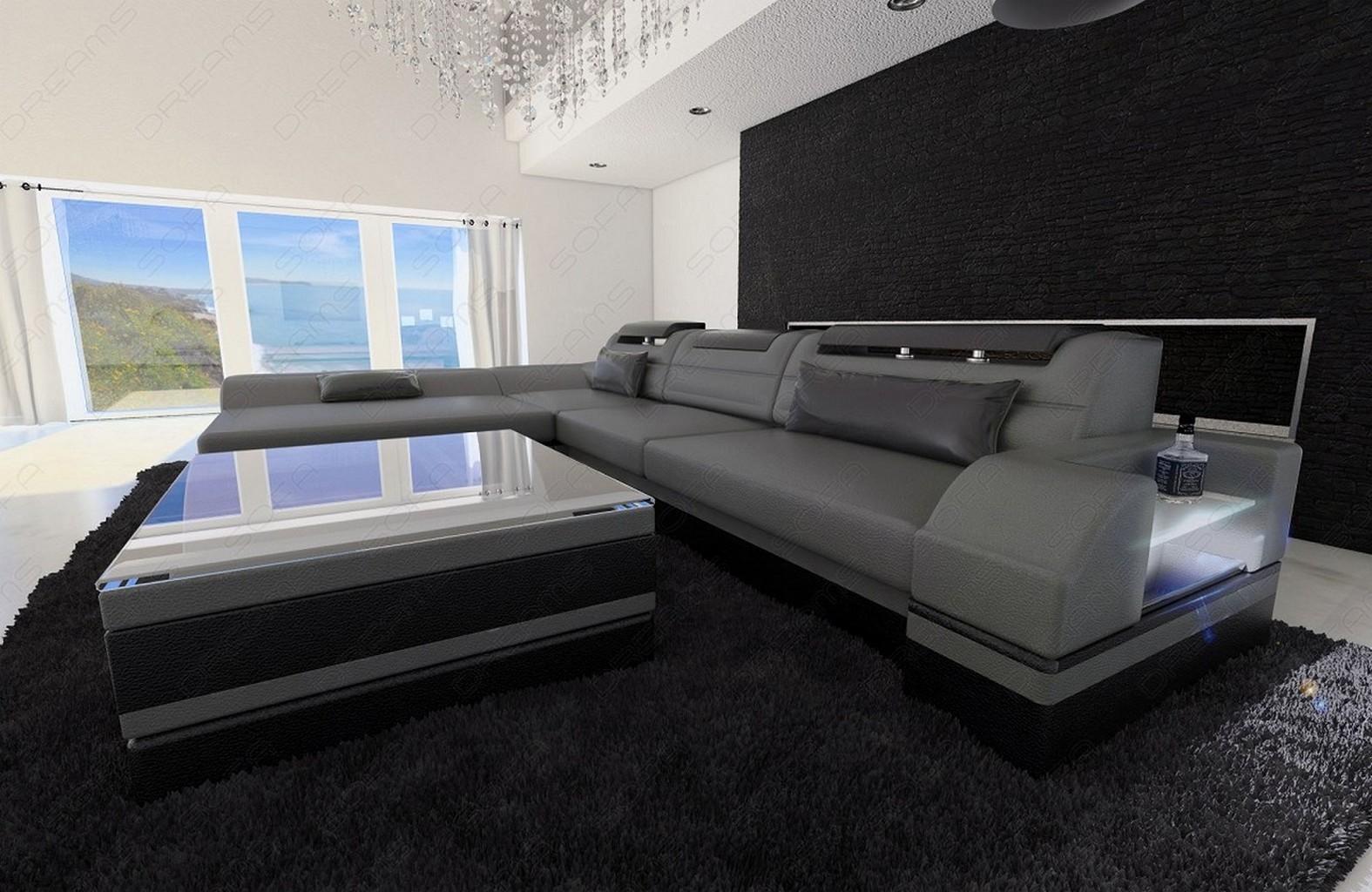 Designersofa monza l form grau schwarz mit led beleuchtung - Sofa l form grau ...