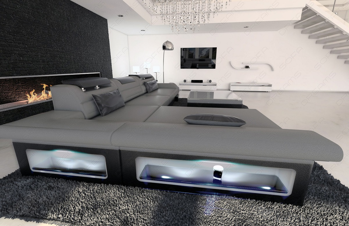 modern corner sofa monza led l shaped grey black ebay. Black Bedroom Furniture Sets. Home Design Ideas