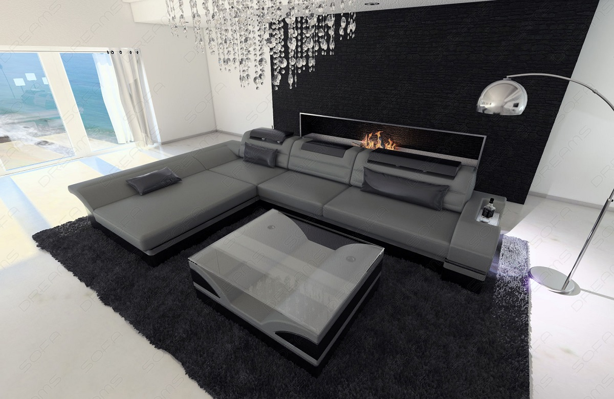 designersofa ecksofa monza l form luxus couch grau schwarz mit led beleuchtung ebay. Black Bedroom Furniture Sets. Home Design Ideas