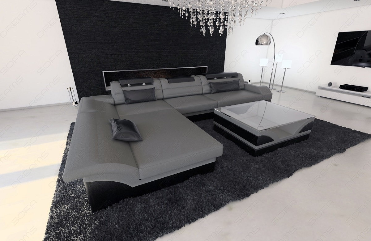 Design Sectional Sofa Monza L Shaped Leathersofa With Led Lights ... Couch L Form