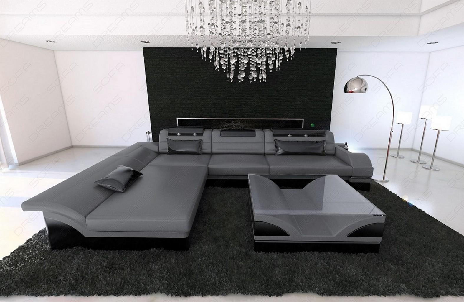 designersofa monza l form grau schwarz mit led beleuchtung ebay. Black Bedroom Furniture Sets. Home Design Ideas