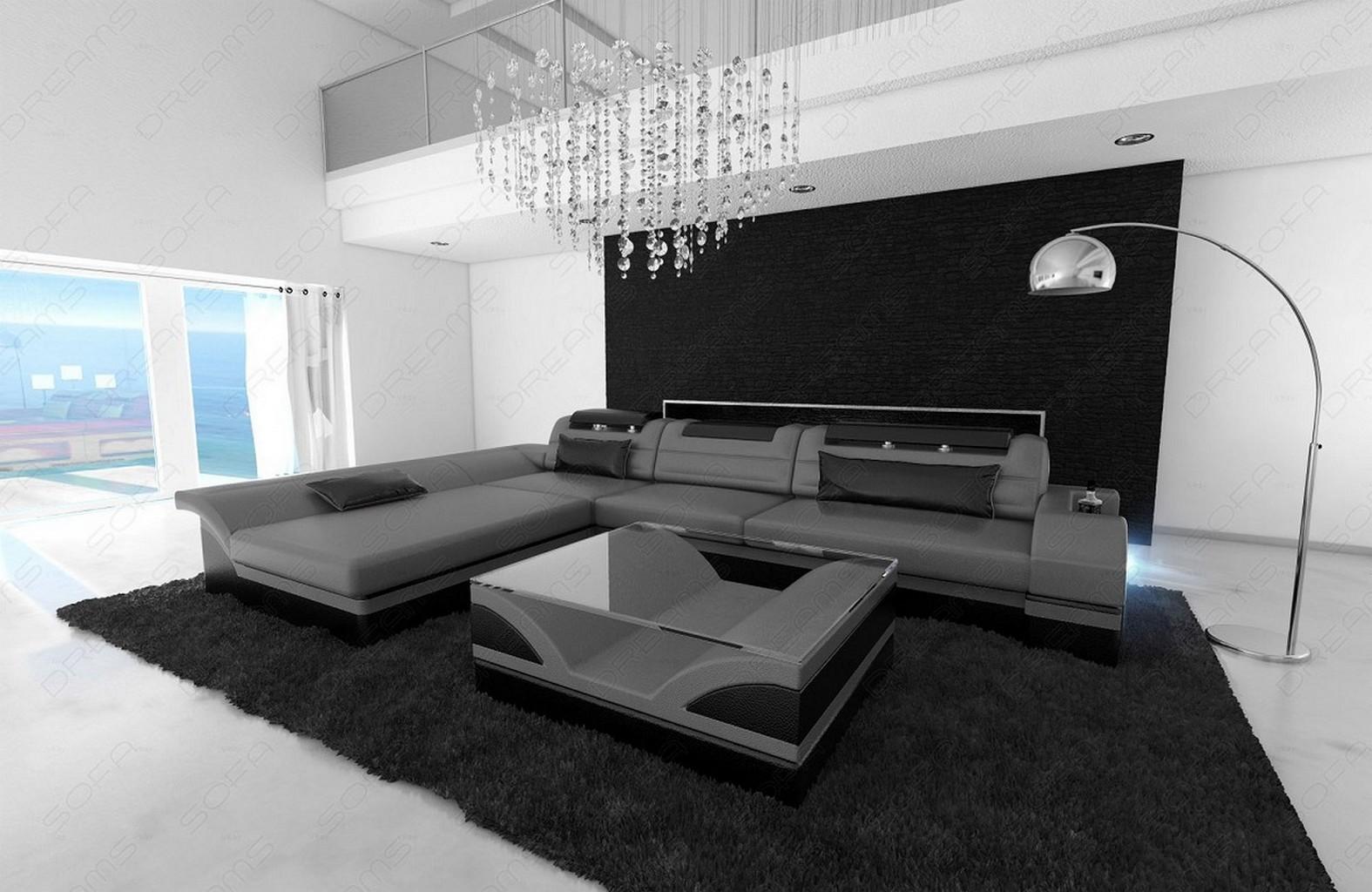 Designersofa ecksofa monza l form luxus couch grau schwarz - Sofa l form grau ...