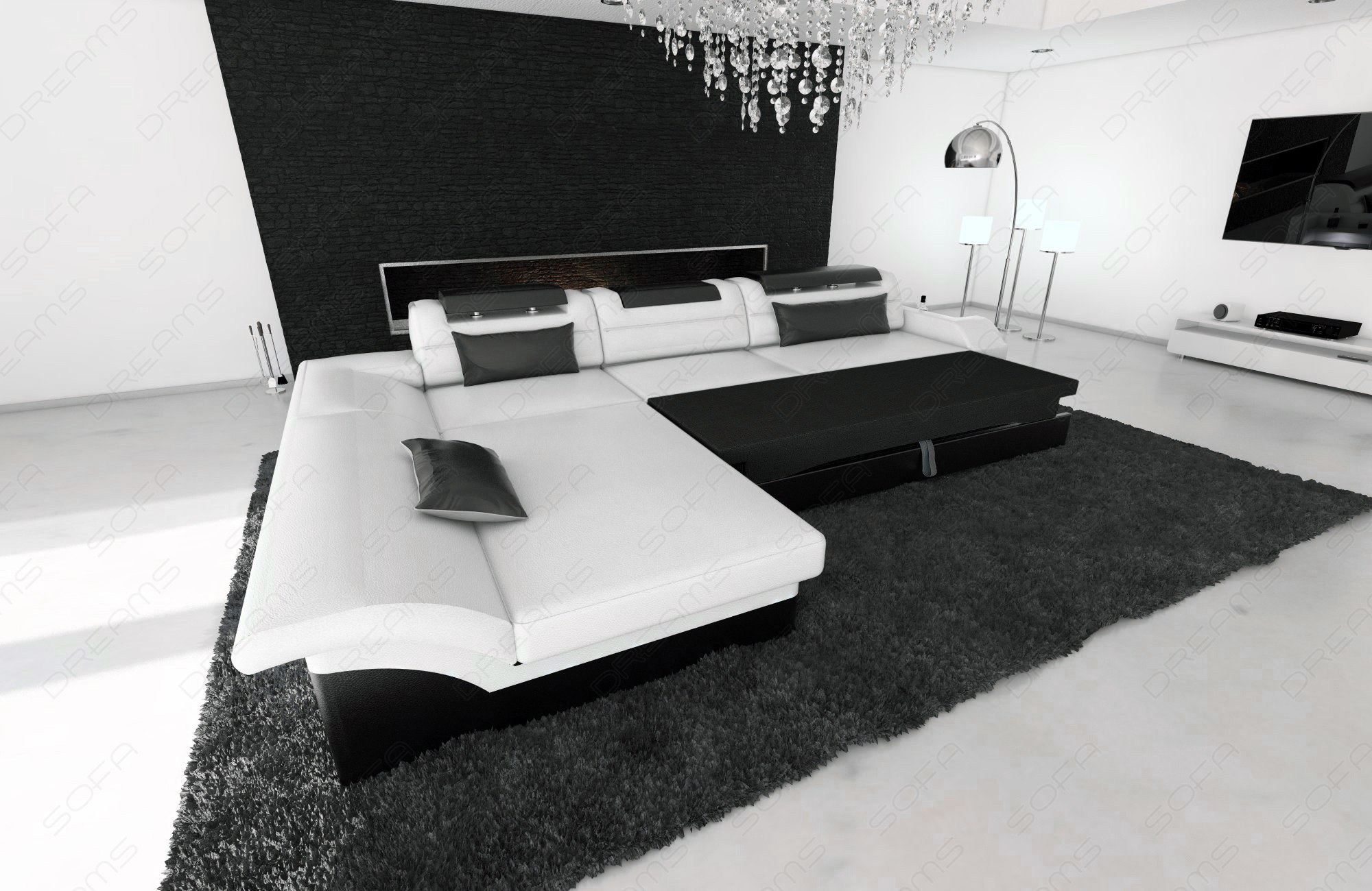 design sectional sofa monza l shaped leathersofa with led lights ebay. Black Bedroom Furniture Sets. Home Design Ideas