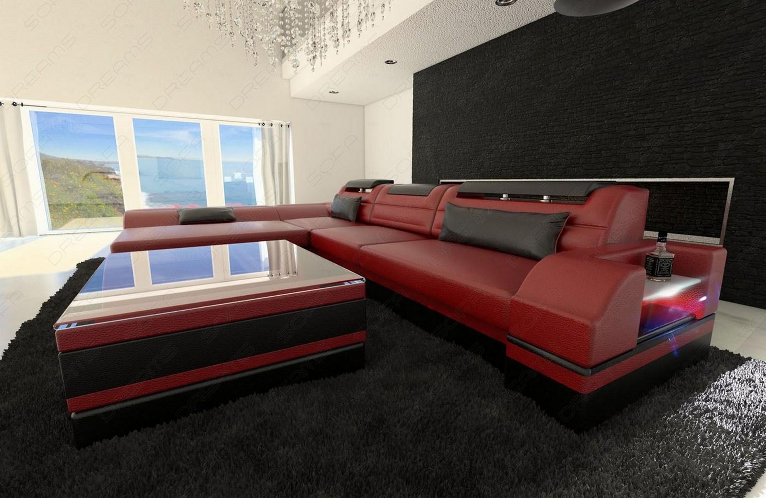 ledersofa monza l form design ledercouch luxussofa recamiere und led beleuchtung ebay. Black Bedroom Furniture Sets. Home Design Ideas