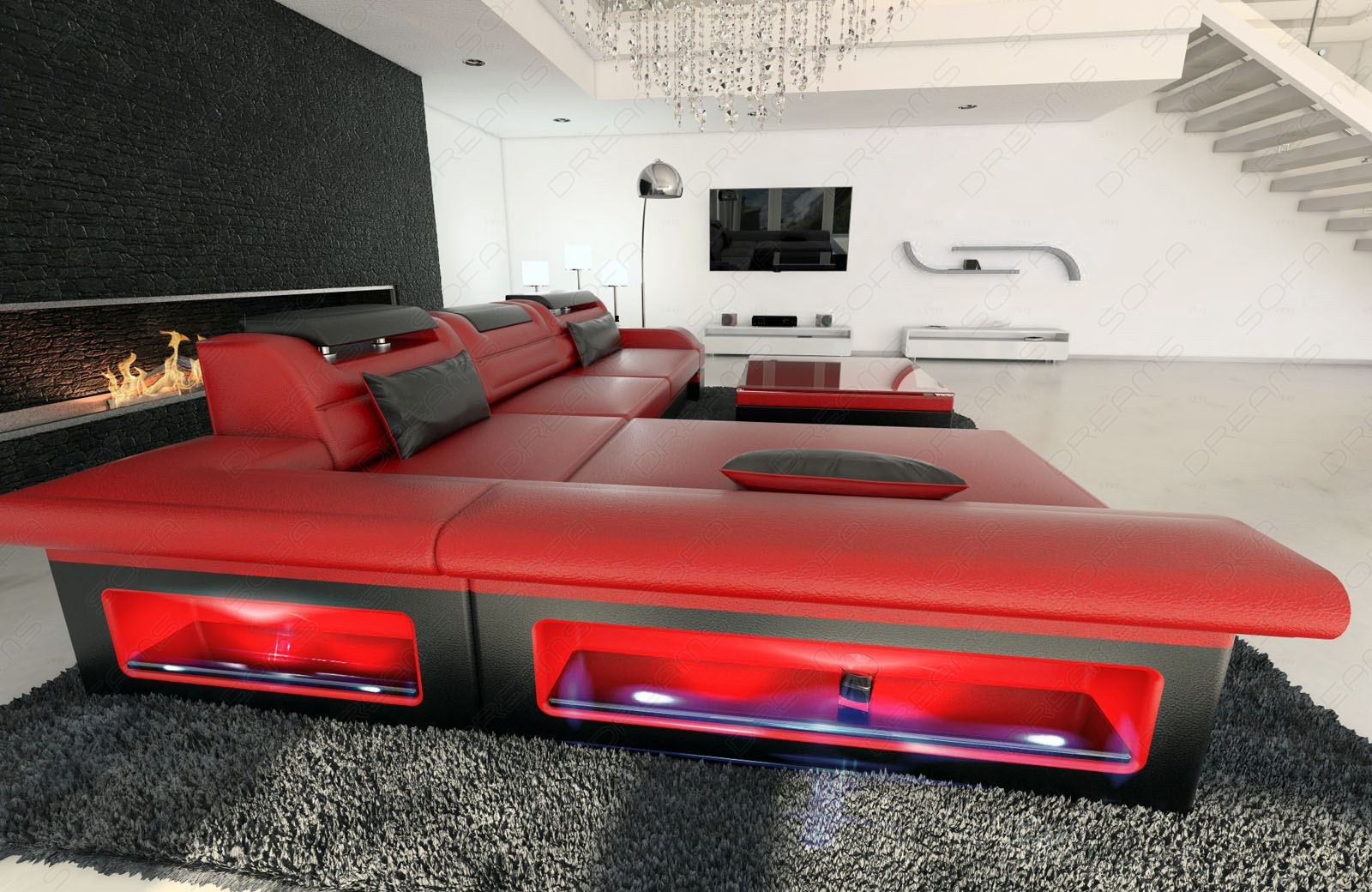 modern corner sofa monza led l shaped red black ebay. Black Bedroom Furniture Sets. Home Design Ideas