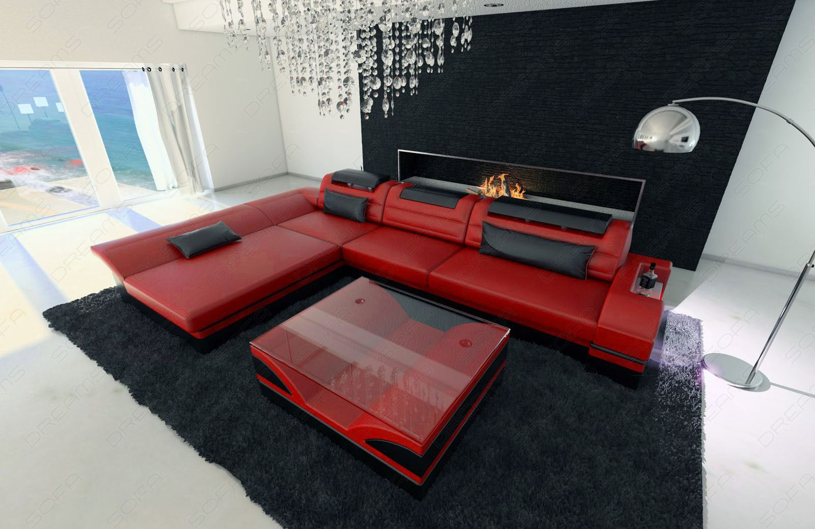 ledersofa monza l form rot schwarz sofa mit led beleuchtung. Black Bedroom Furniture Sets. Home Design Ideas