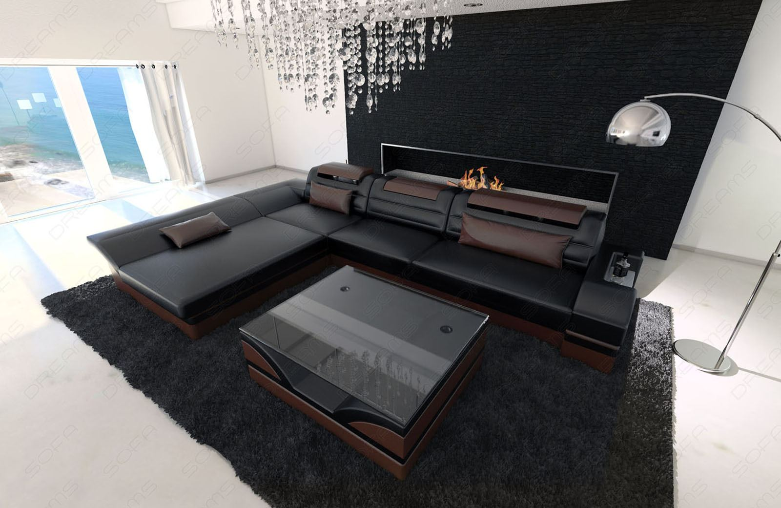 modern corner sofa monza led l shaped black darkbrown. Black Bedroom Furniture Sets. Home Design Ideas