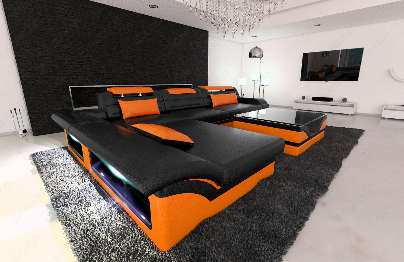 design sectional sofa monza l shaped leathersofa with led. Black Bedroom Furniture Sets. Home Design Ideas