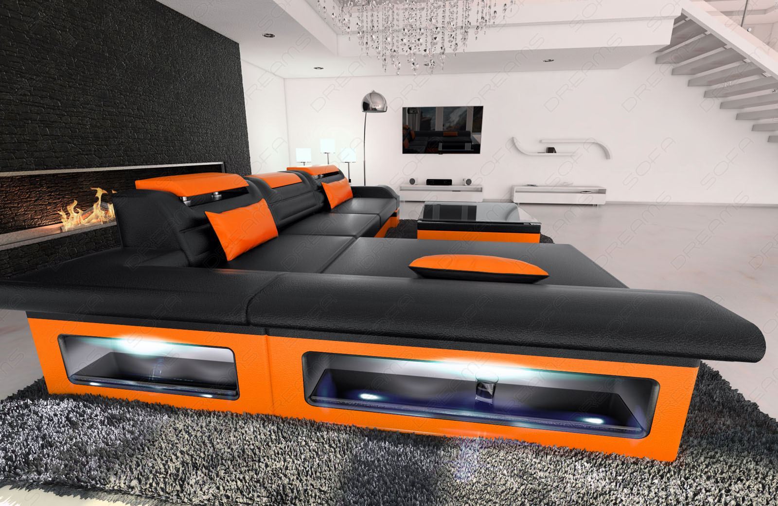designer ledersofa monza l form ledercouch mit led beleuchtung ebay. Black Bedroom Furniture Sets. Home Design Ideas