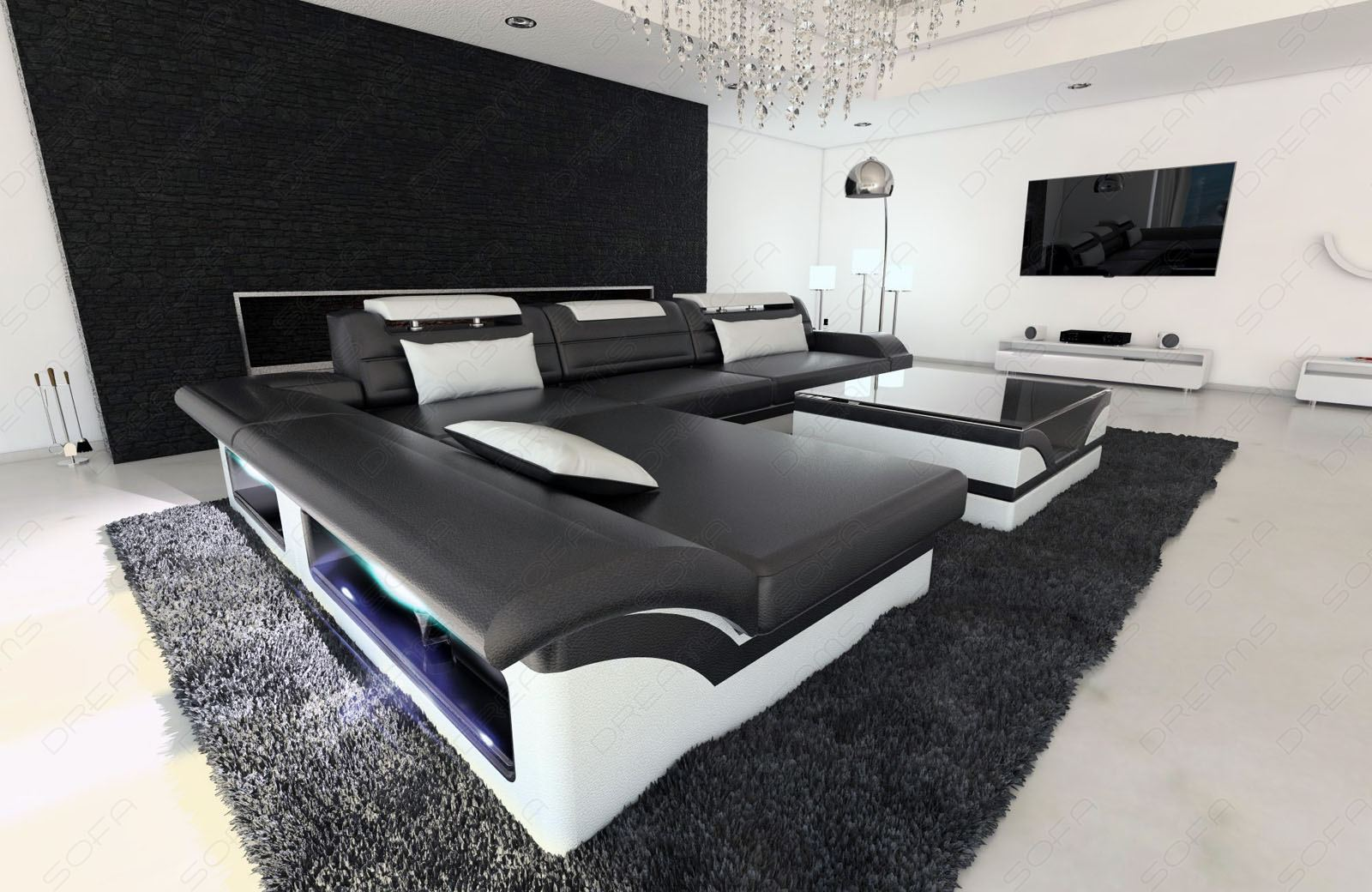 modern corner sofa monza led l shaped black white ebay. Black Bedroom Furniture Sets. Home Design Ideas