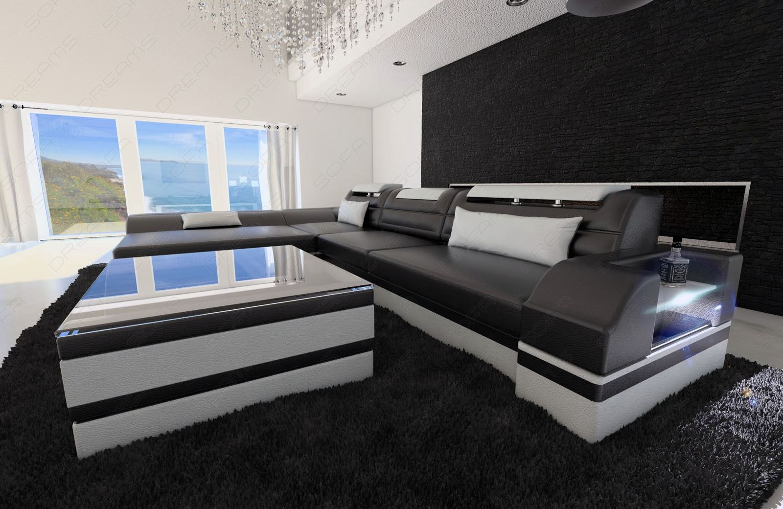 echtledercouch monza l form schwarz weiss ecksofa ottomane led licht lagerware 4055497157023. Black Bedroom Furniture Sets. Home Design Ideas