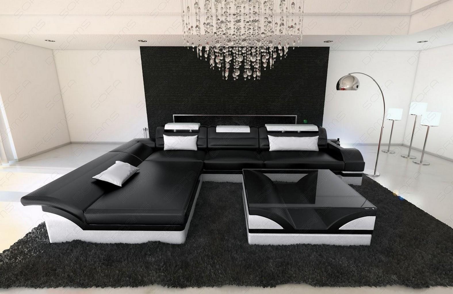real leather sofa monza l shape black white corner sofa. Black Bedroom Furniture Sets. Home Design Ideas