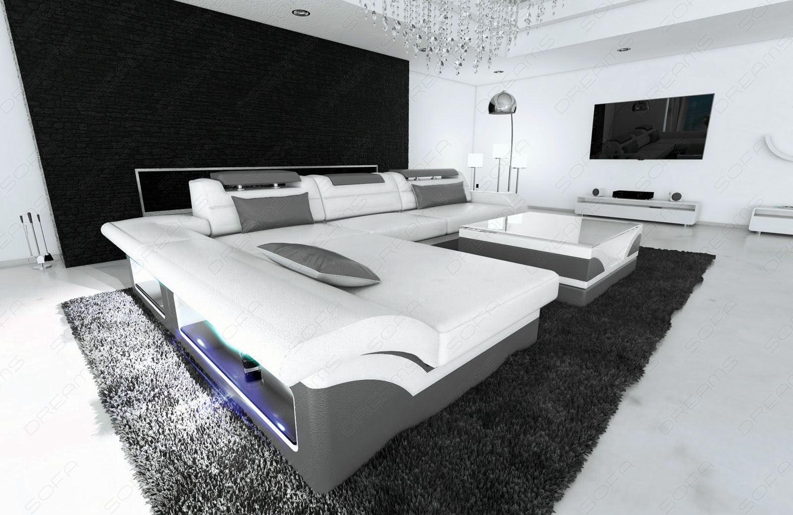 ledersofa design monza l form weiss grau mit led. Black Bedroom Furniture Sets. Home Design Ideas