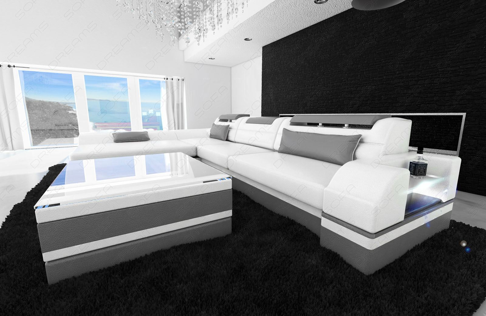 designer leather sofa monza l shaped white grey with led. Black Bedroom Furniture Sets. Home Design Ideas