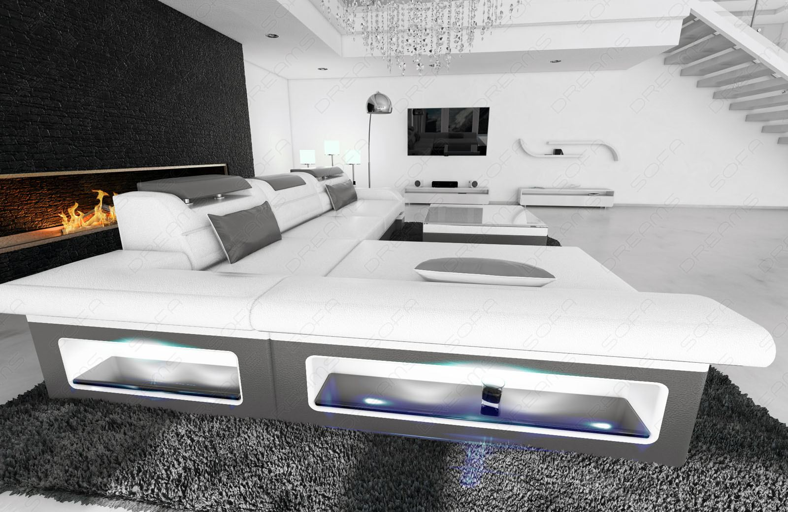 ledercouch design ecksofa monza l form ottomane weiss grau. Black Bedroom Furniture Sets. Home Design Ideas