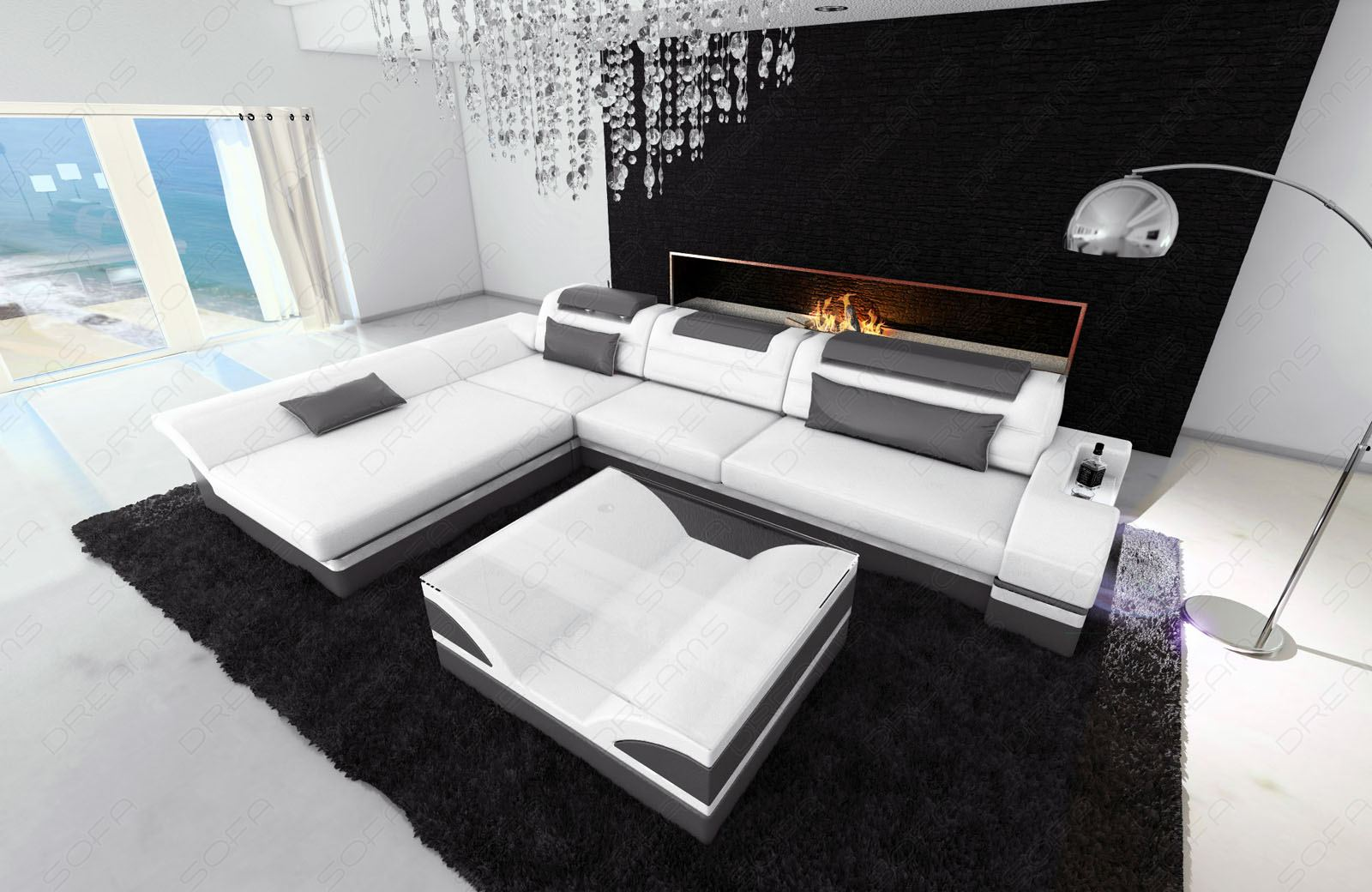 ledersofa design monza l form weiss grau mit led beleuchtung ebay. Black Bedroom Furniture Sets. Home Design Ideas