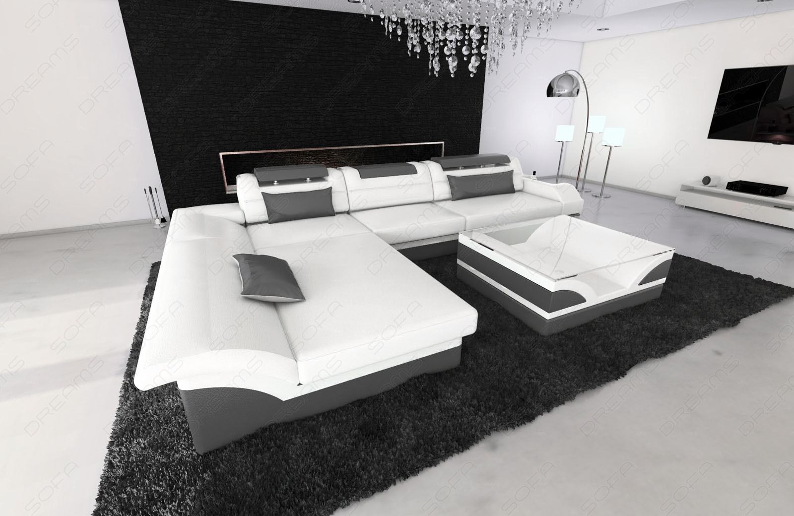 designer leather sofa monza l shaped white grey with led. Black Bedroom Furniture Sets. Home Design Ideas