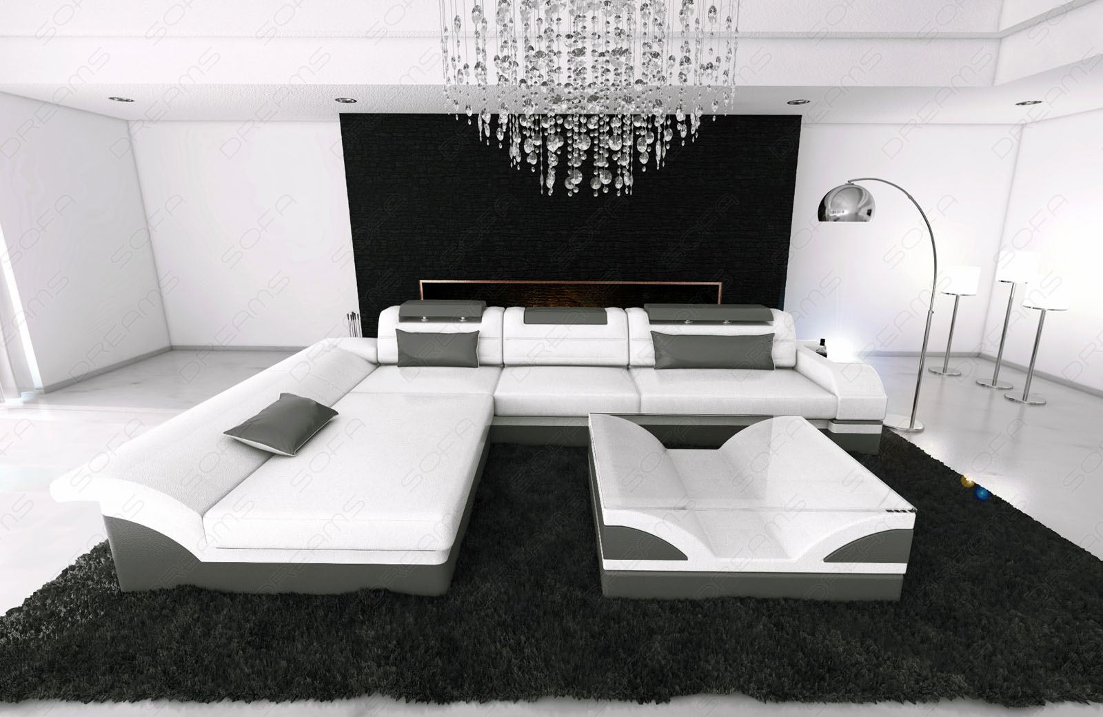 ledercouch design ecksofa monza l form ottomane weiss grau mit led beleuchtung ebay. Black Bedroom Furniture Sets. Home Design Ideas