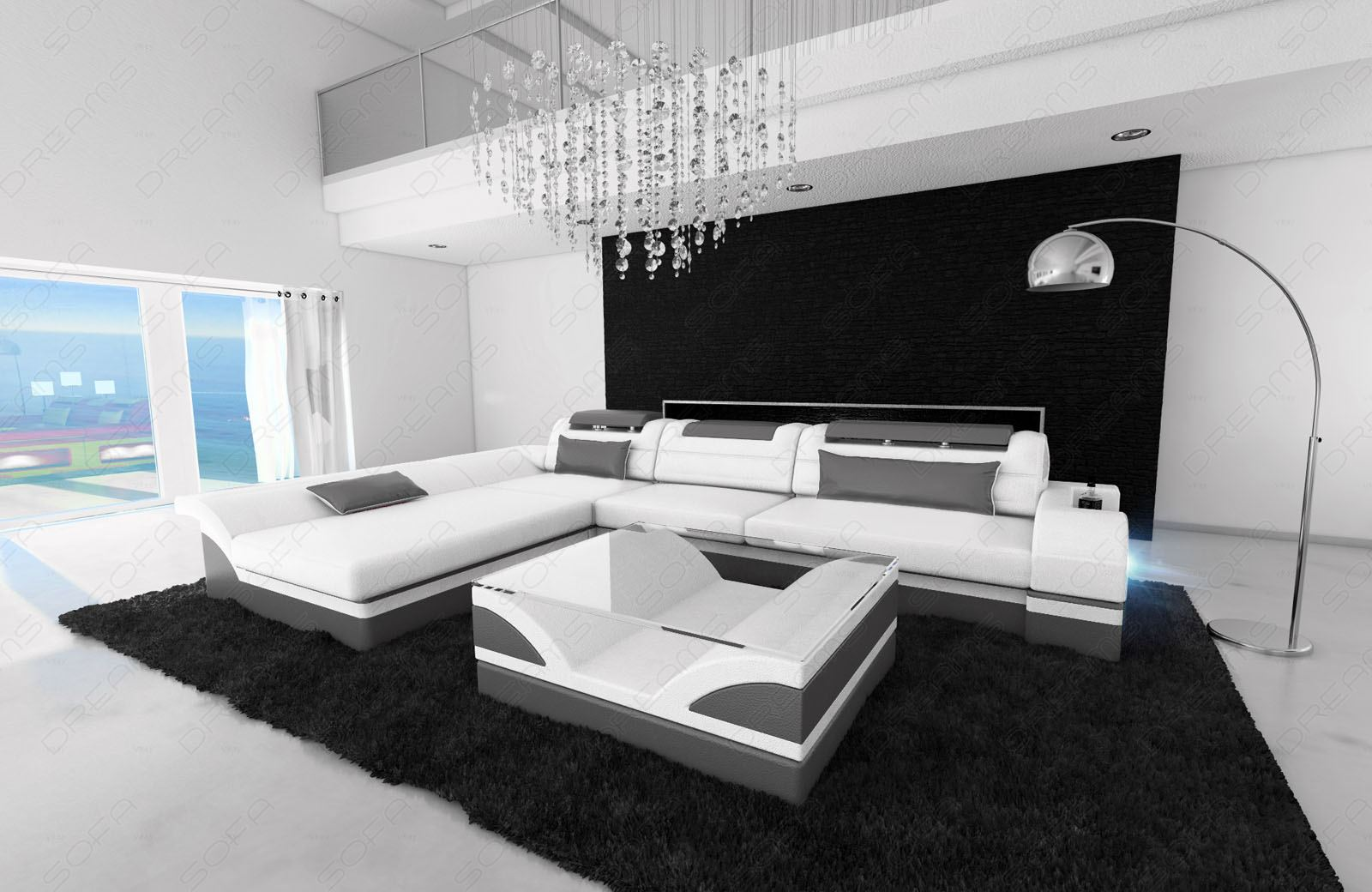 ledersofa monza l form design ledercouch luxussofa recamiere und led beleuchtung ebay. Black Bedroom Furniture Sets. Home Design Ideas