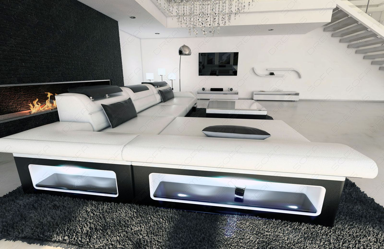 modern corner sofa monza led l shaped white black ebay. Black Bedroom Furniture Sets. Home Design Ideas