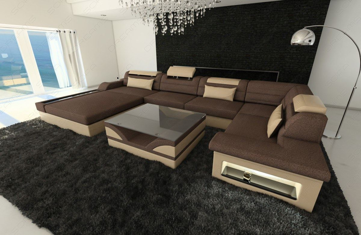 sofa design living landscape mezzo u shape led lighting opt ottoman ebay. Black Bedroom Furniture Sets. Home Design Ideas