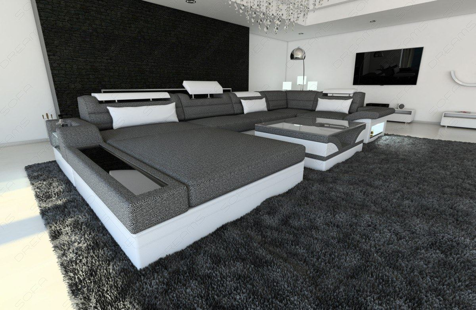 Modern Sectional Fabric Sofa Orlando U Shape with LED Lights | eBay