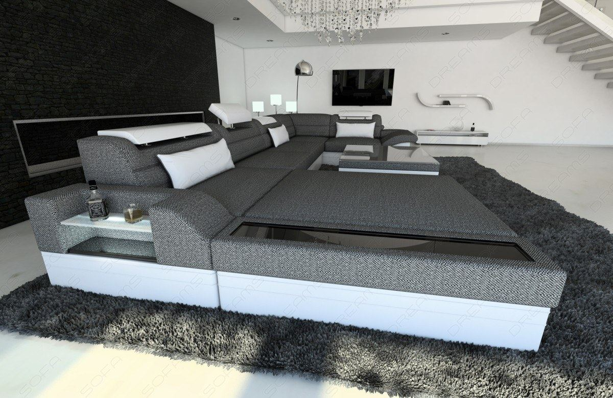 modern sectional fabric sofa mezzo u shaped with led. Black Bedroom Furniture Sets. Home Design Ideas