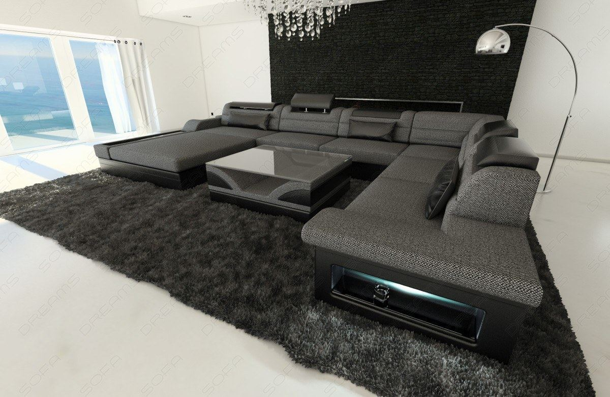 upholstery fabric sofa mezzo xxl with led lights materialmix colour selection. Black Bedroom Furniture Sets. Home Design Ideas