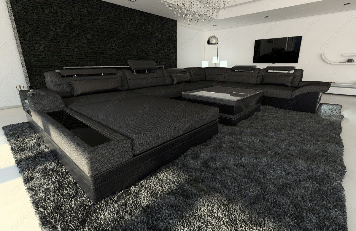wohnlandschaft leder stoff mix stoffsofa mezzo xxl mit led beleuchtung ebay. Black Bedroom Furniture Sets. Home Design Ideas