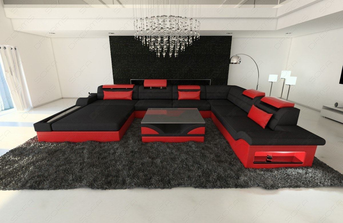 wohnlandschaft eckcouch leder stoff mix stoffsofa mezzo xxl mit led beleuchtung ebay. Black Bedroom Furniture Sets. Home Design Ideas