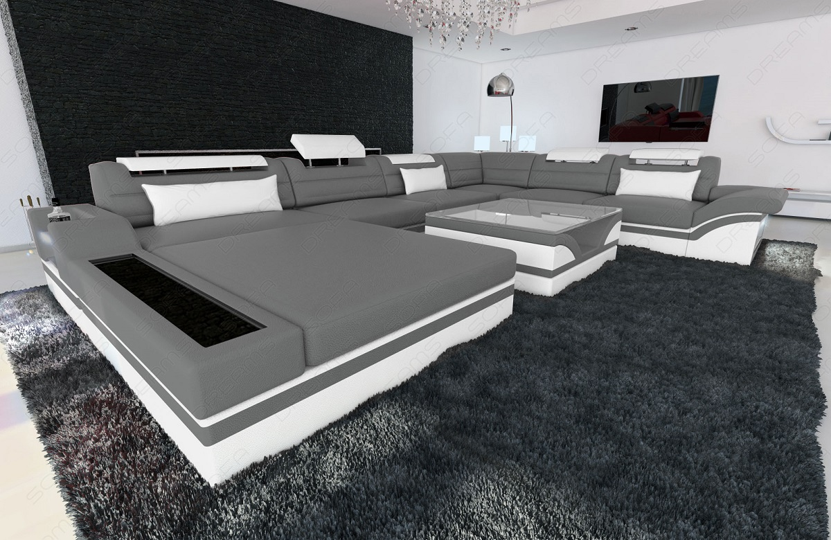 design sectional sofa mezzo xxl with led lights grey white ebay. Black Bedroom Furniture Sets. Home Design Ideas
