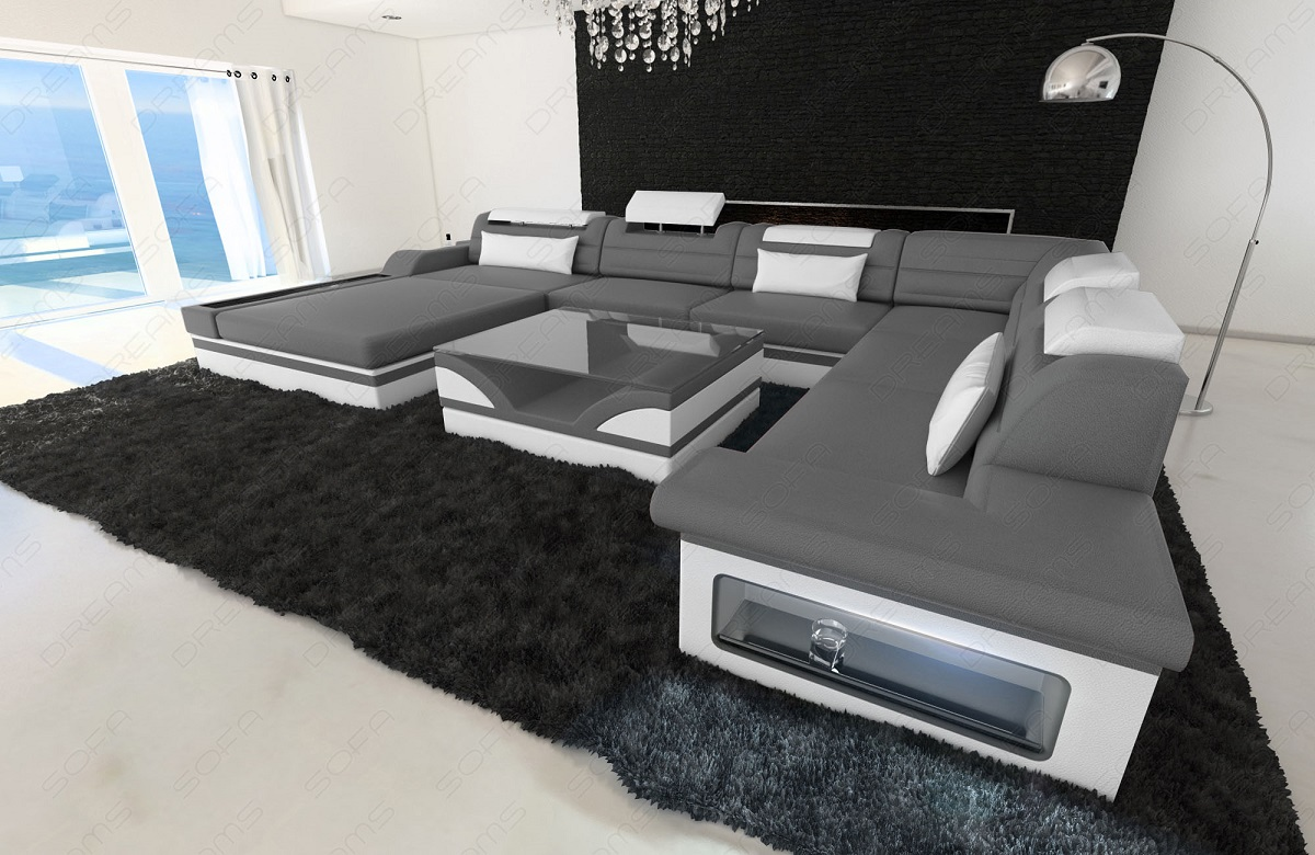 luxury design sectional sofa mezzo xxl with led lights genuine leather ebay. Black Bedroom Furniture Sets. Home Design Ideas