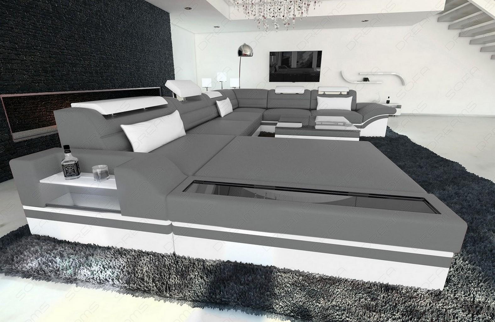 Eckcouch grau weiß  Design Wohnlandschaft MEZZO XXL Ecksofa Relax Couch Ottomane Couch ...