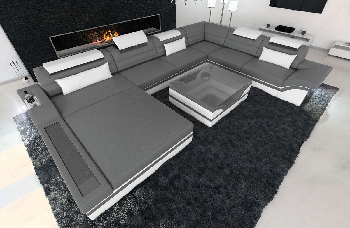 design sectional sofa mezzo xxl with led lights grey white. Black Bedroom Furniture Sets. Home Design Ideas