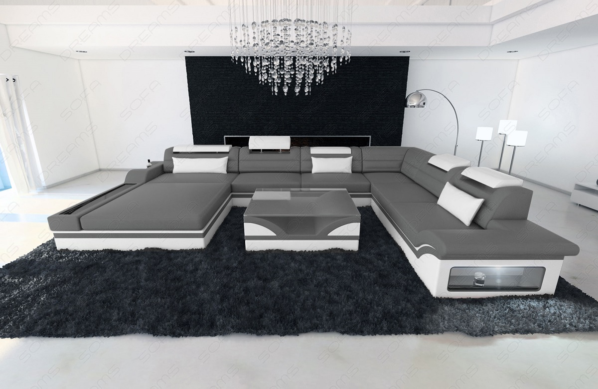 design wohnlandschaft mezzo xxl ecksofa relax couch ottomane couch grau weiss ebay. Black Bedroom Furniture Sets. Home Design Ideas