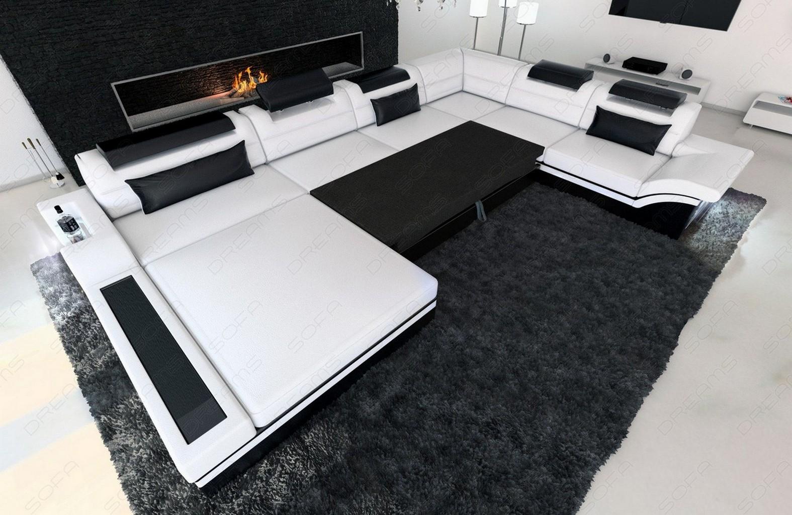 ledersofa mega wohnlandschaft mezzo xxl designer couch ottomane led beleuchtung ebay. Black Bedroom Furniture Sets. Home Design Ideas