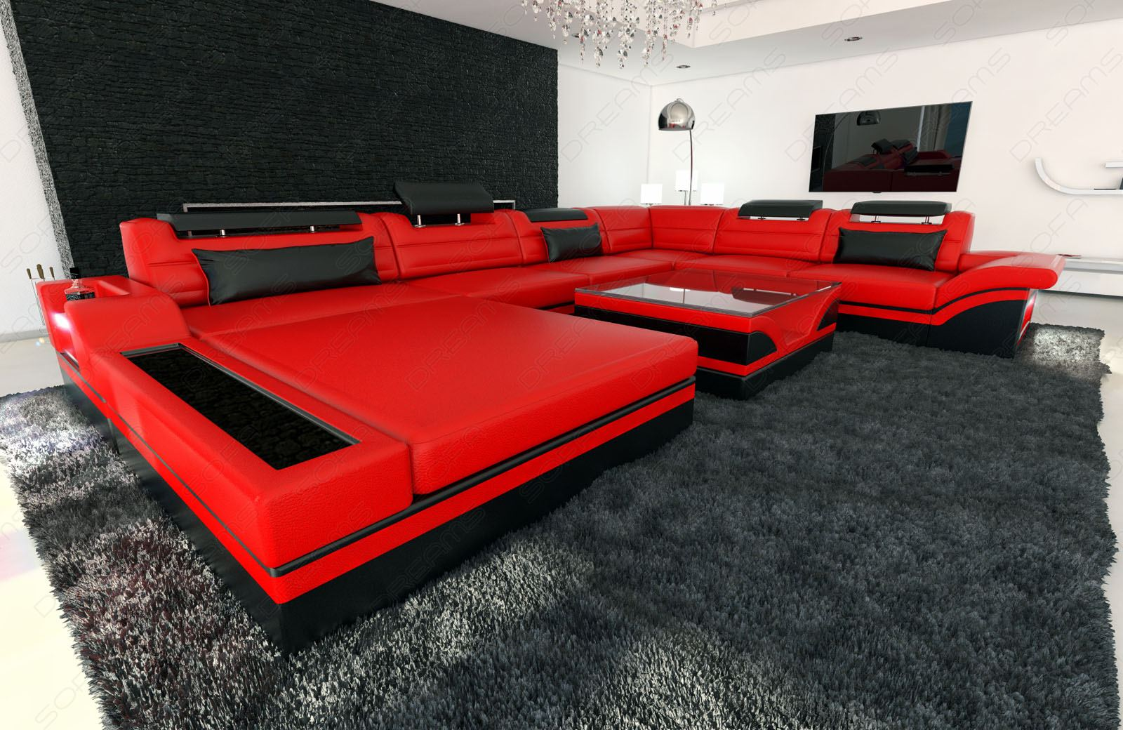 design sectional sofa mezzo xxl with led lights red black. Black Bedroom Furniture Sets. Home Design Ideas