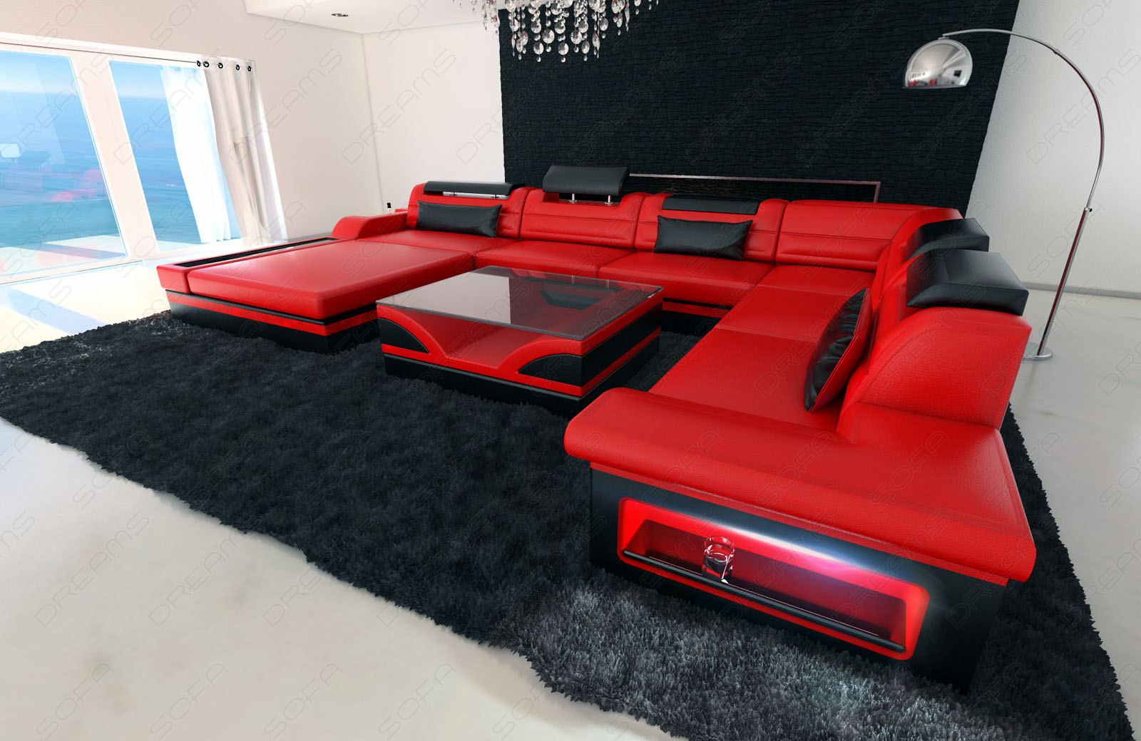luxury designersofa mezzo xxl mega interior design red. Black Bedroom Furniture Sets. Home Design Ideas