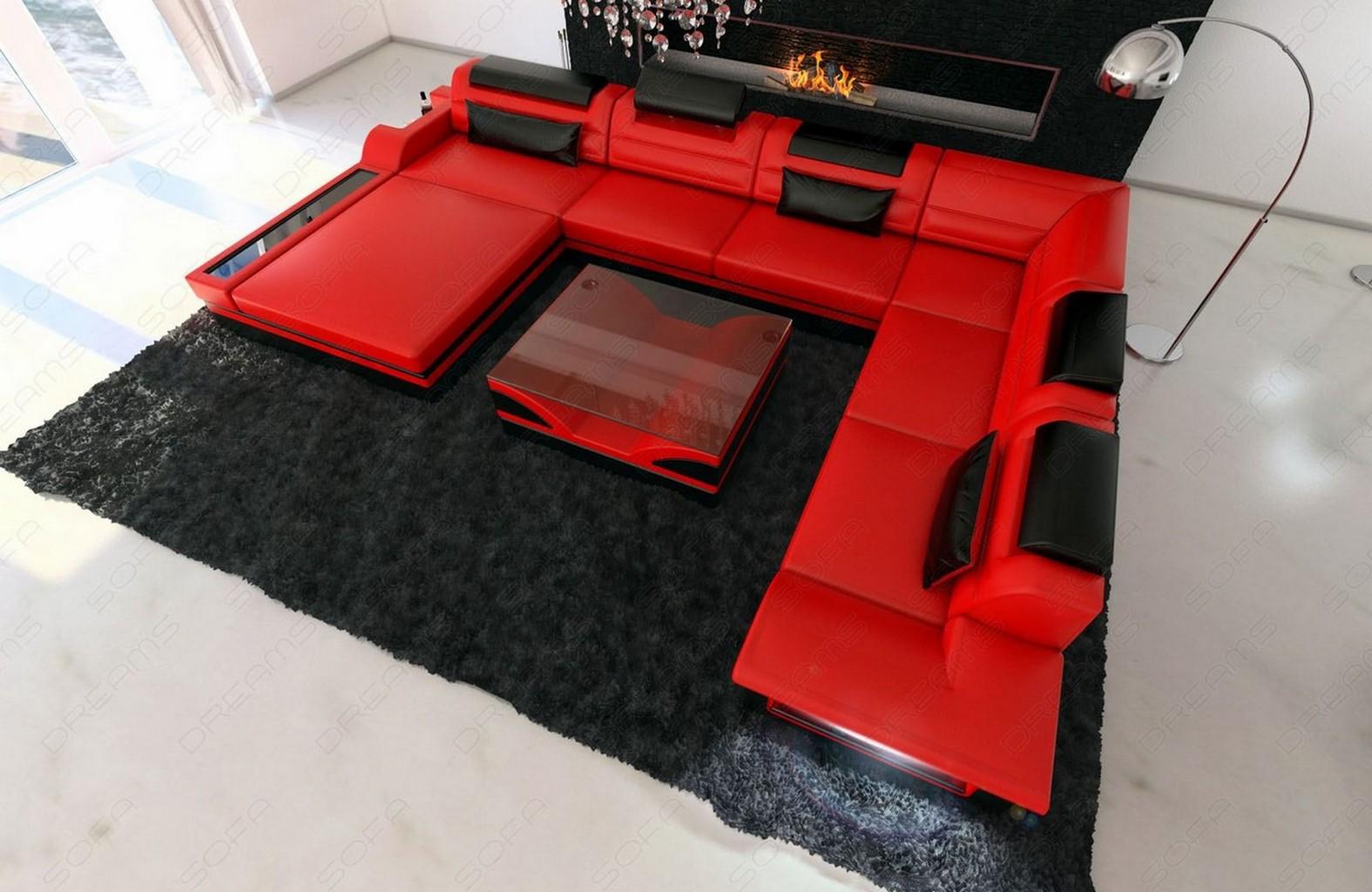 designersofa luxus mezzo xxl mega wohnlandschaft rot schwarz ebay. Black Bedroom Furniture Sets. Home Design Ideas