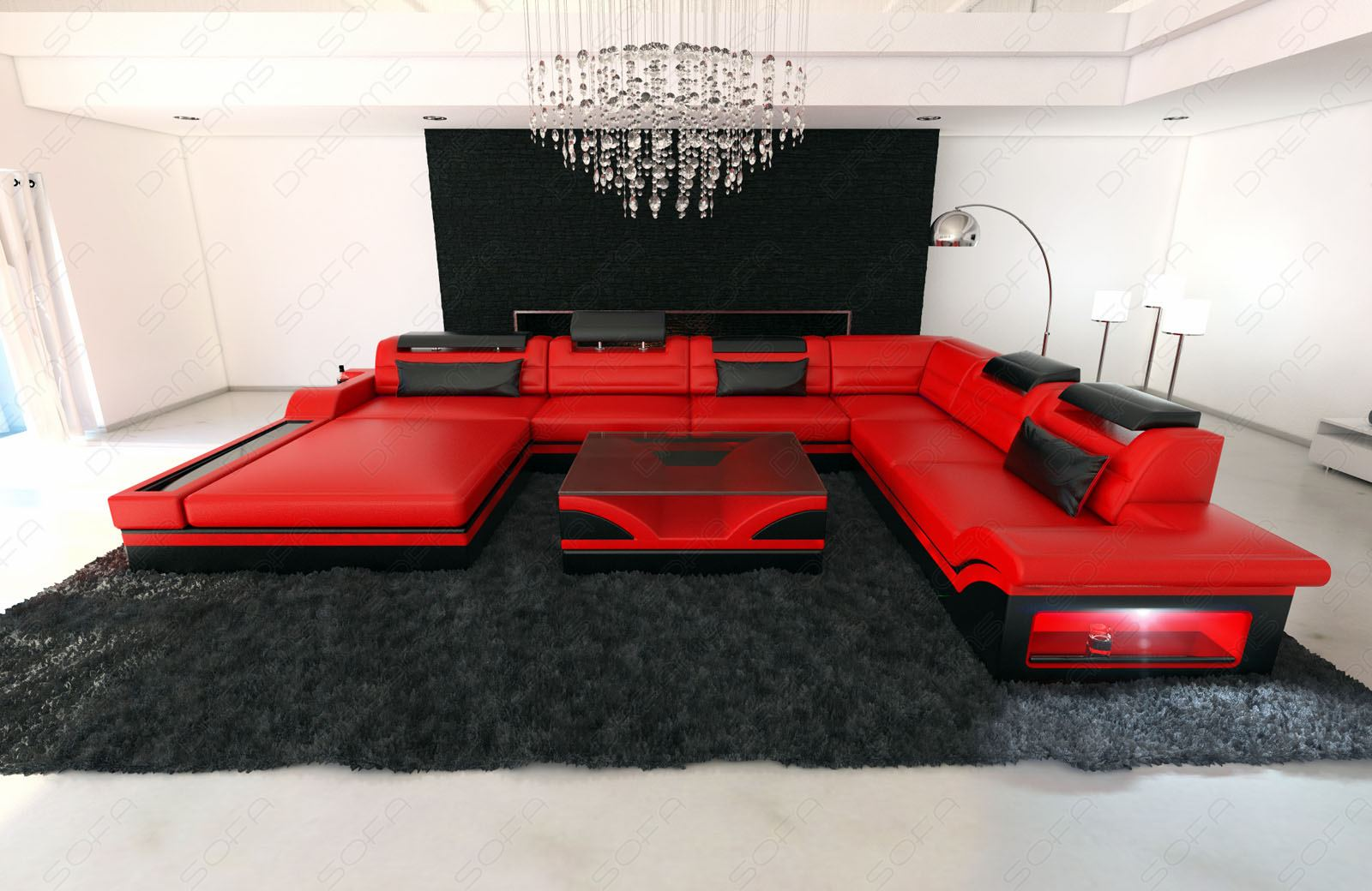 design sectional sofa mezzo xxl with led lights red black ebay. Black Bedroom Furniture Sets. Home Design Ideas